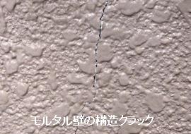 モルタル壁に出来た構造クラックの様子